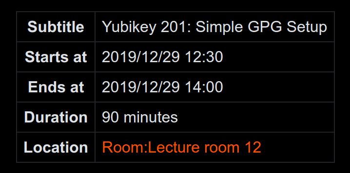 YubiKey Workshop Schedule